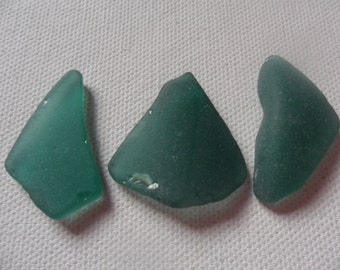 Pretty teal green sea glass - 3 lovely pendant shaped English beach find pieces