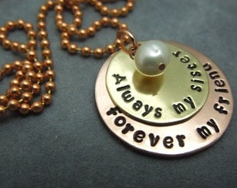 my sister my friend,hand stamped mixed metal necklace