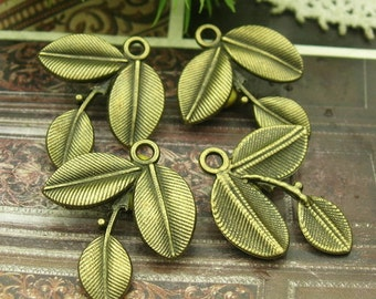 10pcs -Antique Brass Plated  Leaves Finding Charm,(13x26mm)