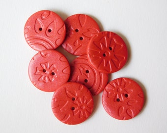"Polymer Clay Buttons, 3/4"" (19 mm) sewing buttons, set of 7"