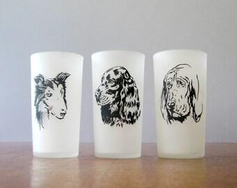 Three Hazel Atlas Drinking Glasses - Dog Faces