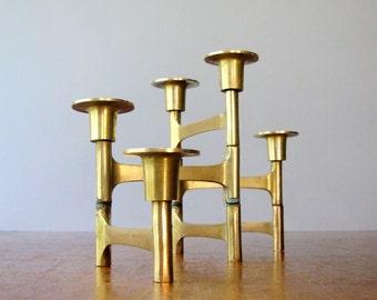 Vintage Modernist Articulating Brass Candle Holder / Candelabra