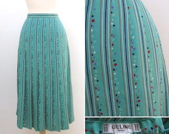 Vintage 1970s Celine Pleated Silk Skirt with Stars and Stripes