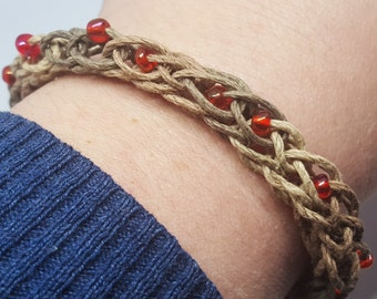 Crocheted Hemp Bracelet with Beaded Accents - Small but Customizable