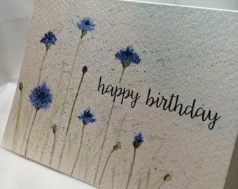 OOAK Handpainted Happy Birthday Watercolor Card