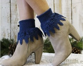 Lace socks, lace socks women, lace cuff sock,short boot sock, lace boot sock, boot cuff sock SIGNATURE LACE Navy Catherine Cole Studio SLC2