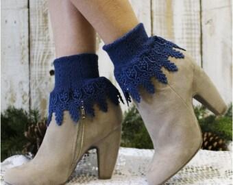 Lace socks, lace socks women, lace cuff sock,short boot sock, lace boot sock, boot cuff sock SIGNATURE LACE Navy Catherine Cole Studio SLC2