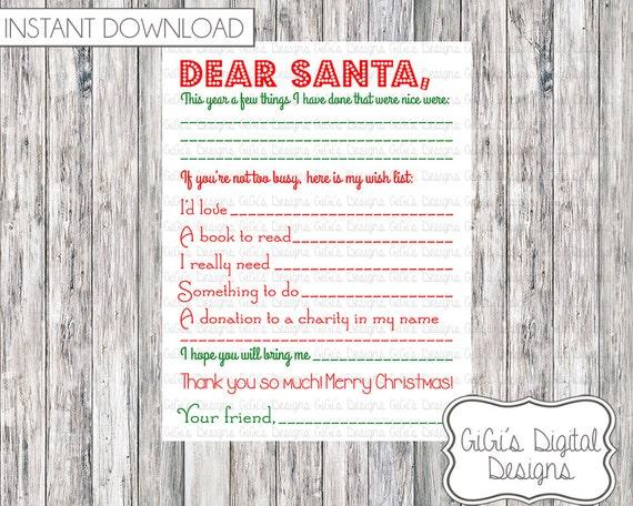 DEAR SANTA letter Christmas wishlist Want Need Read Wear