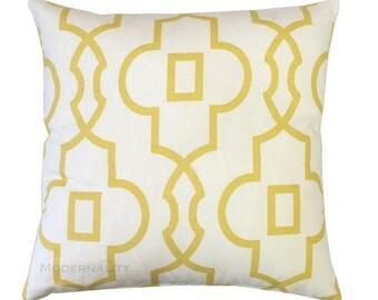 Trellis Pillow Cover, Saffron Bordeaux Pillow, Soft Yellow Pillow Case, Lattice Pillow, Zippered Pillow, Decorative Pillow, Throw Pillow