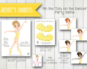 Ballerina Pin-the-Tutu-on-the-Dancer Party Game - Instant Download - Pin-the-Tail DIY Printable game poster