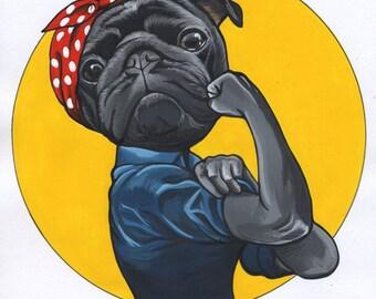 Original handmade illustration of a pug / framed