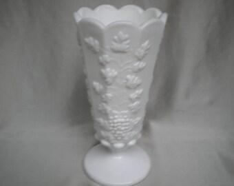 Westmoreland Milk Glass Vase Grape Vine Pattern