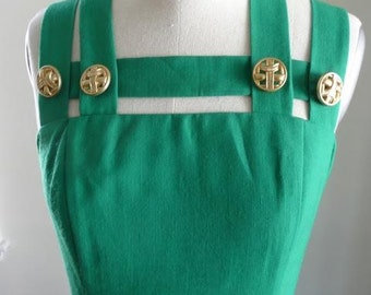 1980's Kelly Green & Gold Button Dress
