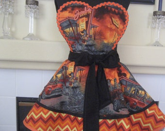 Zombie Drive Inn Halloween Pin Up Womens Apron