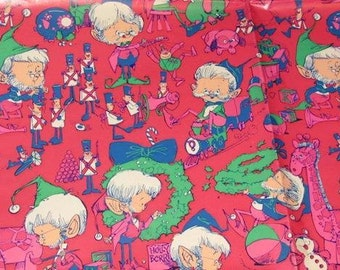 Vintage 70s Elves Christmas Gift Wrapping Paper for Children - Pixie Gift Wrap Paper