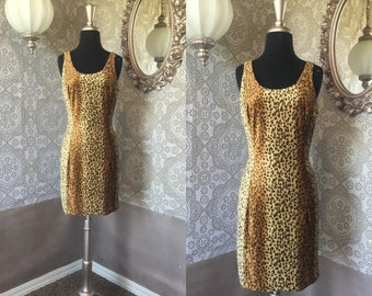 Vintage 1980's Leopard Print Body Con Fitted Dress S/M