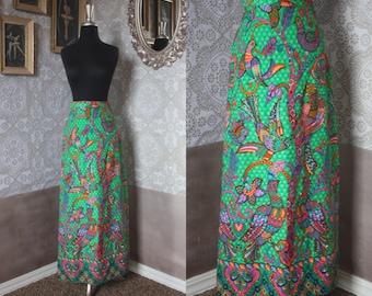 Vintage 1960's 70's Lime Green Bird Novelty Print Maxi Skirt Medium