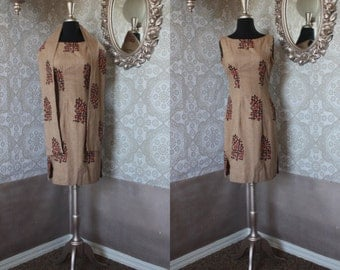 Vintage 1960's Brown Linen Sheath Dress with Matching Wrap Small