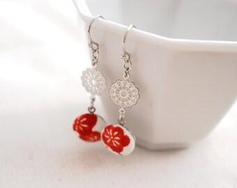 Kimono silk mini dangle earrings-ume flower, red, white