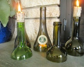 Set of 5 Green Wine Bottle Candle Holders / Hurricanes