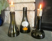 Trio of Green Wine Bottle Candle Holders / Hurricanes
