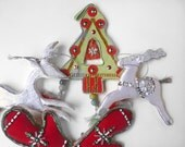 Christmas sequin ornaments, green tree, red mittens, silver reindeer,Made in India,Boho lot of four