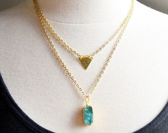 SALE Green Geode Custom Letter Layering Necklaces Set