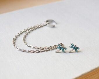 Blue Dragonfly Silver Ear Cuff Earrings (Pair)