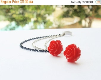 VALENTINES DAY SALE Cheery Red Rose Bloom Triple Chain Ear Cuff (Pair)