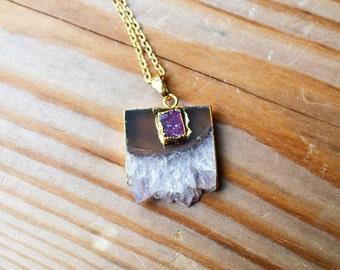 Amethyst Druzy Slice Gold Necklace