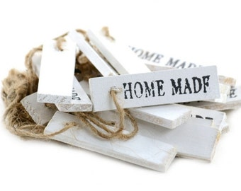 Wooden Tags White Home Made Set of 20