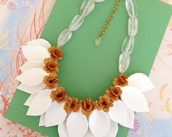 White Leaf and Gold Flower Necklace