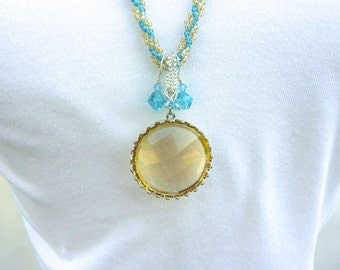 Golden Swarovski Crystal Statement Pendant, Aqua and Gold Spiral Woven Pendant Necklace, Hand Woven Spiral Necklace