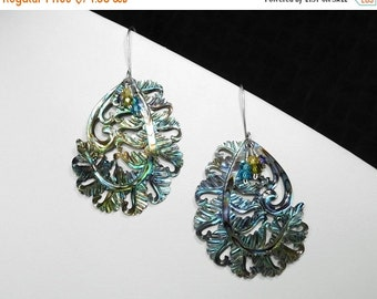 Abalone Shell Carved Feather and Zircon Earrings in Silver
