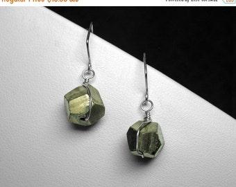 Pyrite Earrings in Silver