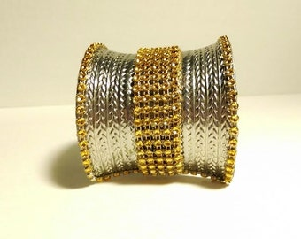 Large #Silver #Etched #Cuff #Gold #Crystal #Center #Wide #Long #Cuff #Bracelet