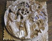 vintage asian wood carving plaque
