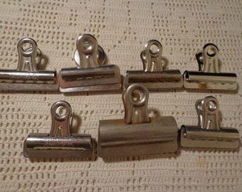 6 Vintage Metal Binder Clips
