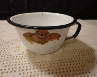Vintage White and Black Enamelware Cup