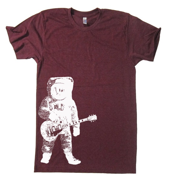 Astronaut Rocking Out On Guitar Space Tee Gifts For Him Present Fathers Day Gift Dad Husband Brother Guitar Player Guitarist Music Shirt - L