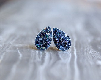 Crushed Crystal Druzy 'Tears of Joy' Sterling Silver Studs