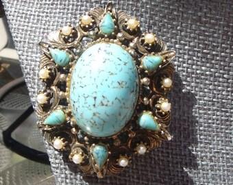 Vintage Turquoise Brooch/Pendant