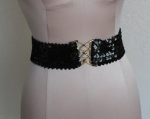 Vintage Stretch Belt Black Sequins Gold-Toned Buckle