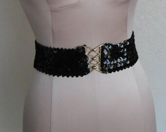 Vintage Stretch Belt Black Sequins Gold-Toned Buckle