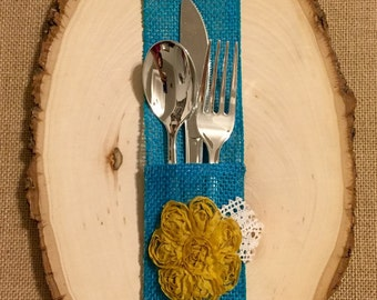 Burlap Silverware Holder with mustard fabric flower - Set of 4