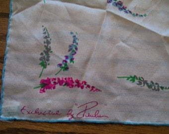 Vintage Silk Handkerchief Signed Exclusive by Paula 100% Silk Hand Rolled Edge Pink and Blue Fern Leaf Design Mid Century or Before