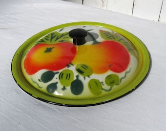 "Vintage Pot LID ONLY Colorful Enamelware with Fruit Design ~ 6-1/4 to 6-3/4"" Repurpose Birdhouse Cover"