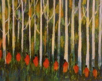 """Into the Woods - Original painting on Paper (acrylic) 15""""x11"""""""