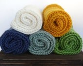 Set of 2 Knitted Chunky Layering Blankets/ Mat/ Basket Stuffer Photo Prop, Wool Baby Blanket, Any Color