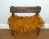 Rust Felted Curly Wool Fluff Layer/ Mat/ Basket Stuffer Photo Prop, Wool Baby Blanket, READY TO SHIP
